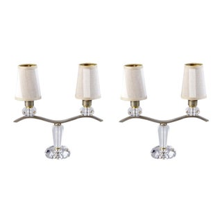 Jacques Adnet 2 Light Girandole Table Lamps - Pair