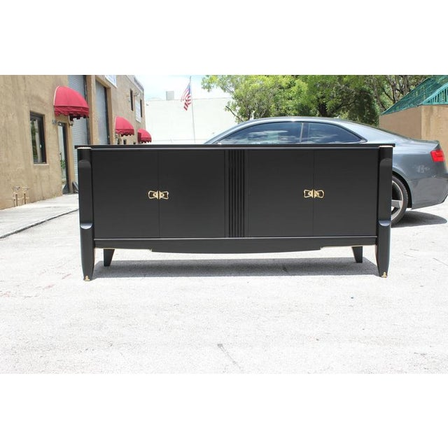 Image of French Art Deco Ebonized Sideboard / Buffet / Bar