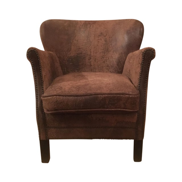 Professor's Leather Chair With Nailheads - Image 1 of 5
