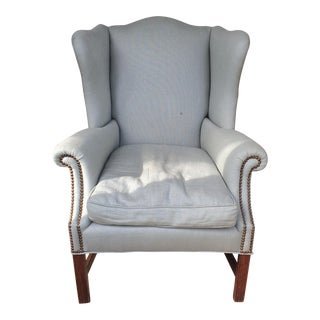 Blue Nail Head Trim Lounge Chair