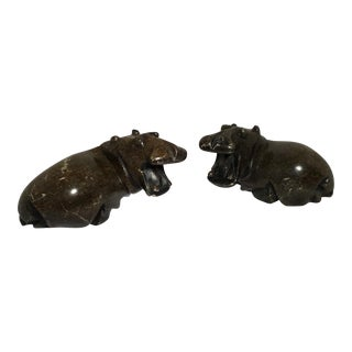 Pair of Hand Carved Stone Hippos