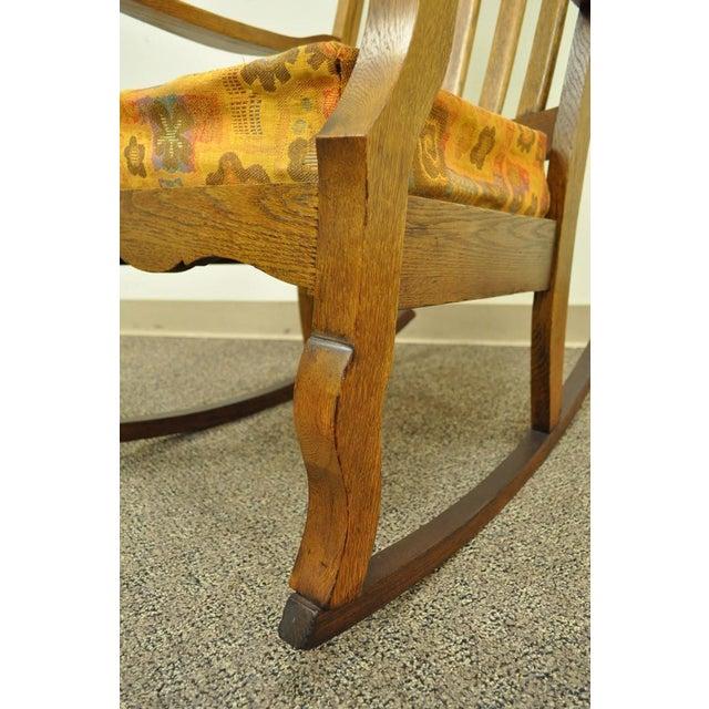 Antique Mission Arts & Crafts Carved Solid Oak Rocking Lounge Chair - Image 5 of 11