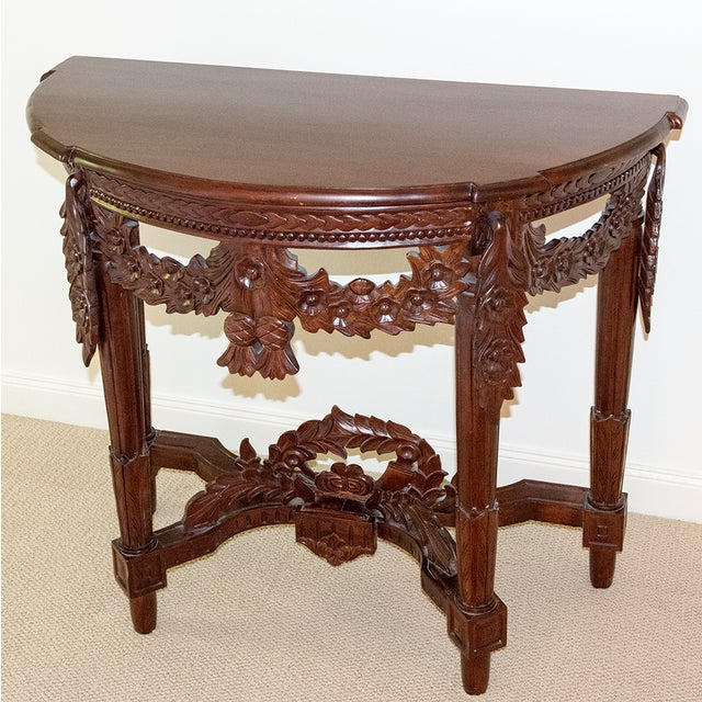 Carved Rosewood Stained Thai Console Table - Image 4 of 4