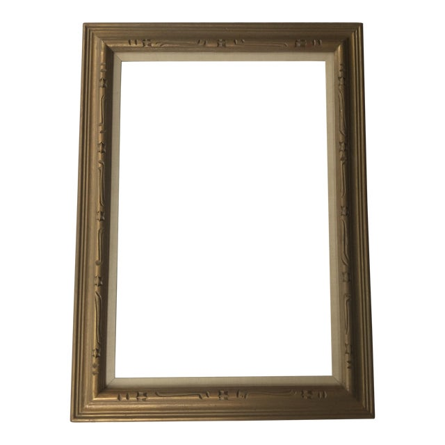 Large Mid-Century Gold Carved Gold Wood Frame - Image 1 of 11