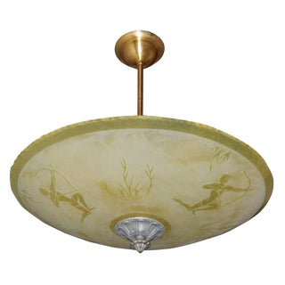 Orrefors Swedish Art Deco Light Fixture C. 1930