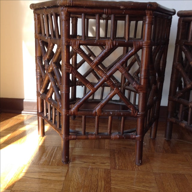 Rattan Chinese Chippendale Fretwork Tables - Pair - Image 6 of 8