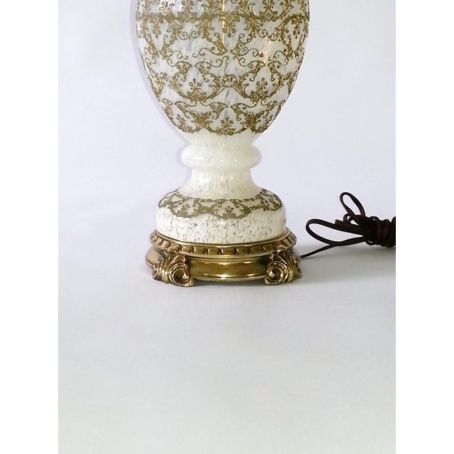Vintage Opalescent Murano Glass and Brass Lamp - Image 3 of 10