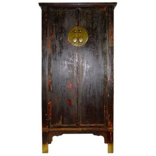 Antique Black Asian Wedding Cabinet with Heavy Patina