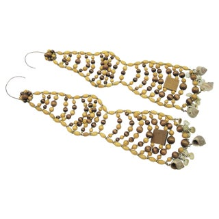 Miriam Haskell Wood/Shell Shoulder Duster Earrings