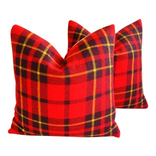 Red, Black & Gold Scottish Tartan Plaid Wool Pillows - A Pair