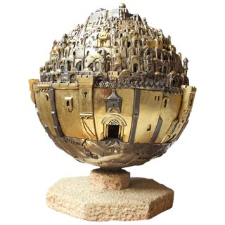 """The Golden City, Jerusalem"" Revolving Illuminated Sculpture by Frank Meisler"