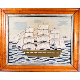 British Sailor's Woolwork Woolie Picture of Royal Navy Ship