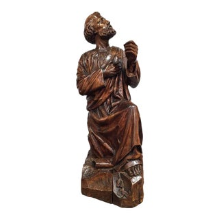 18th Century French Carved Walnut Statue of Saint Peter Kneeling
