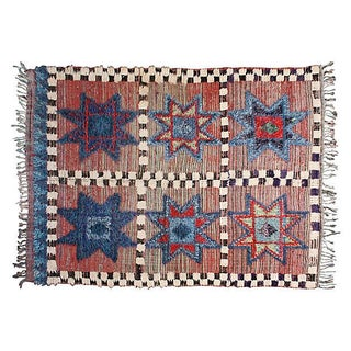 Blue & Red Moroccan Rug - 7' X 4'9""
