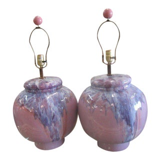 Lavender Drip Glaze Mid-Century Modern Lamps - A Pair