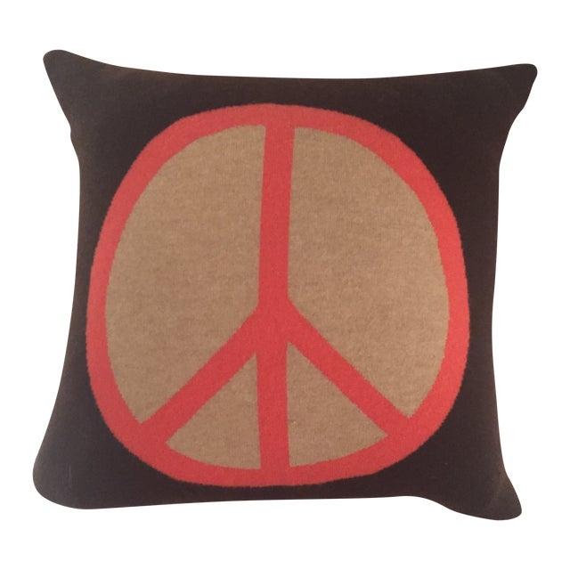 Rani Arabella Cashmere Peace Sign Pillow - Image 1 of 3