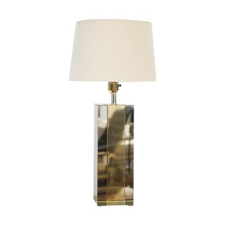 Mirrored Brass & Chrome Table Lamp