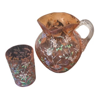 Hand Painted Floral Pitcher and Glass C. 1930s