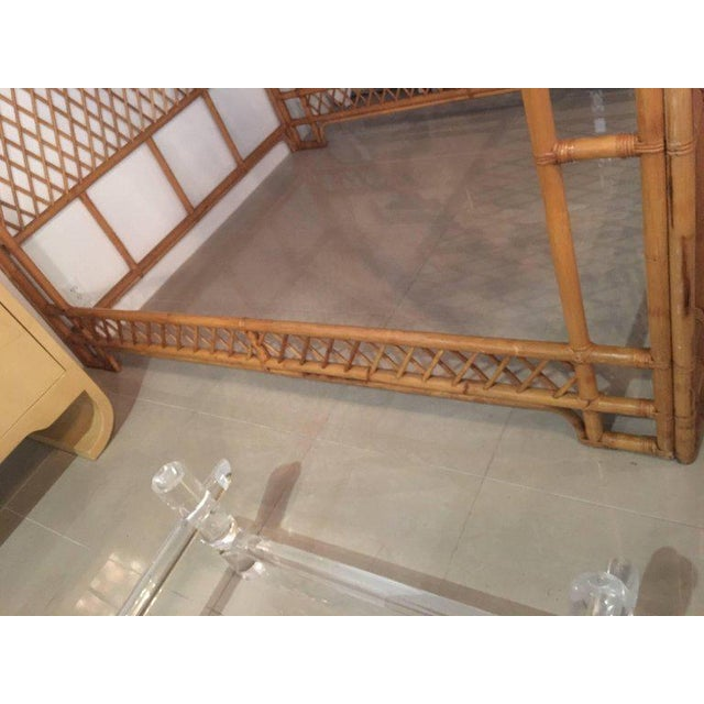 Rattan Bamboo Chinese Chippendale Queen Canopy Bed - Image 10 of 12