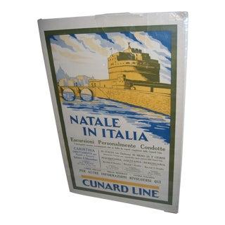 Original Vintage Cunard Line Italy Travel Poster