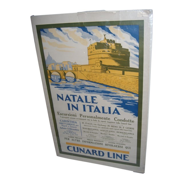Image of Original Vintage Cunard Line Italy Travel Poster