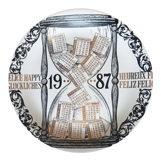 Piero Fornasetti Porcelain Calendar Plate for 1987