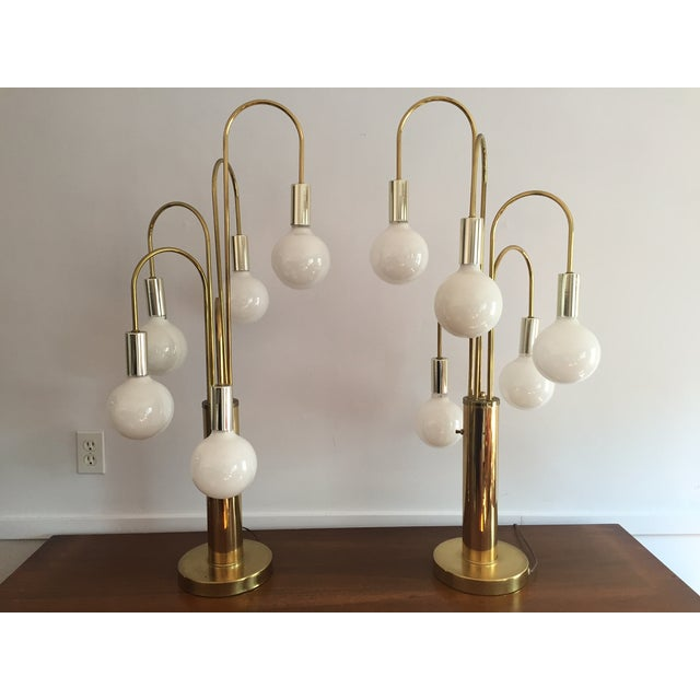 Mid-Century Brass Waterfall Table Lamps - A Pair - Image 2 of 11