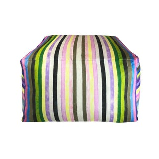 Contemporary Striped Pouf