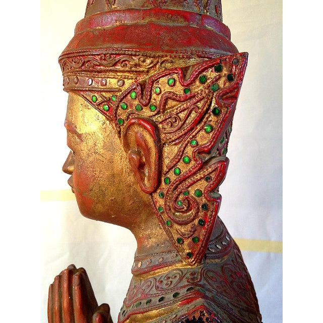 Large Wooden Thai Figure - Image 5 of 10