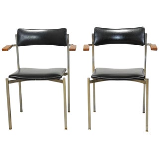 Frederic Weinberg Mid-Century Steel Armchairs - A Pair