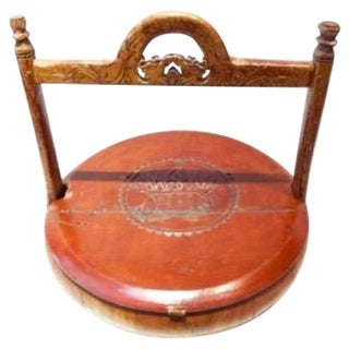Antique Chinese Wooden Pancake Basket/Food Carrier