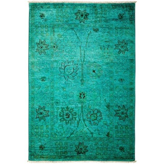 "Vibrance, Hand Knotted Kelly Green Wool Area Rug - 4' 2"" X 6' 2"""