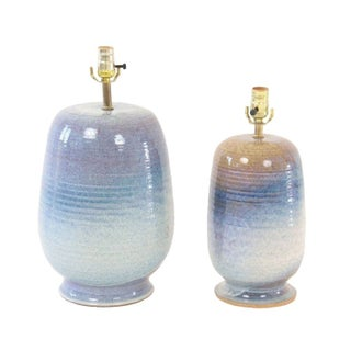 Mid Century 1960s Beachy Blue Pottery Lamps - Pair