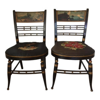 Landscape Painted Side Chairs - A Pair