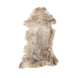 "Aydin Genuine Handmade Sheepskin Rug, Seat Cushion, Beige, 1'8"" x 3'2"""