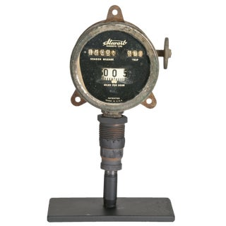 Antique Stewart Odometer On Stand