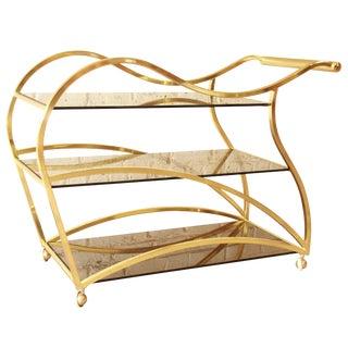 Milo Baughman for Dia Brass and Glass Bar Cart