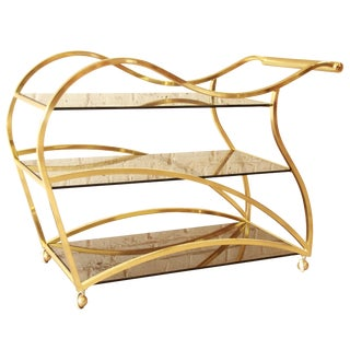 Milo Baughman for DIA Brass and Glass Bar Cart