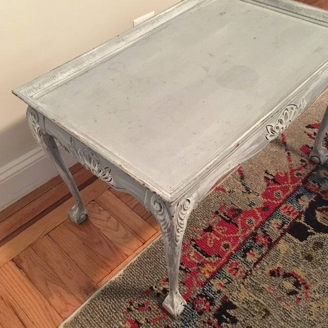 Light Blue Distressed Clawfoot Wooden Coffee Table - Image 4 of 5
