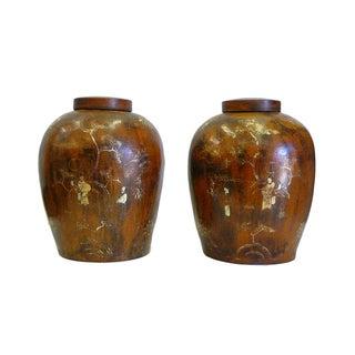 Chinese Gold Scenery Jars - Pair