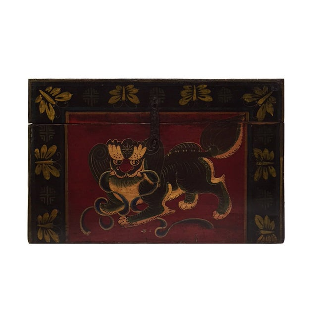 Chinese Brown Red & Gold Graphic Wood Trunk Box - Image 2 of 7