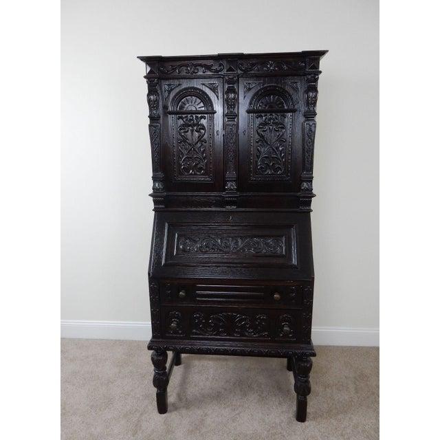 Antique Carved Solid Oak Jacobean Slant Front Desk - Image 2 of 11