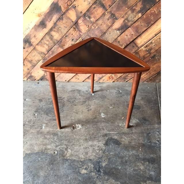 Image of Mid-Century Walnut & Black Laminate Side Table