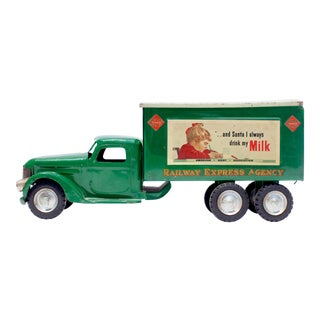 Vintage Green Milk Truck on the Side Photograph