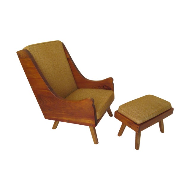 Rustic Modern Ochre Lounge Chair & Ottoman - Image 1 of 7