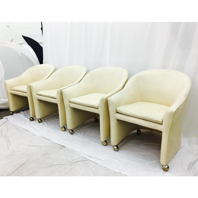 Vintage mid century modern white leather chairs chairish - Fabulous white leather dining chairs for modern contemporary appeal ...
