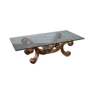 Custom Gilt Wood Gold Rococo Carved Wood Glass Top Coffee Table