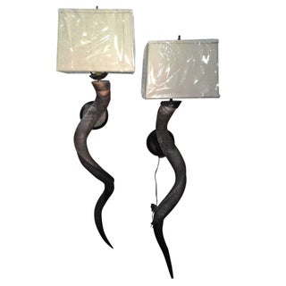 Natural Kudu Horn Sconces With Shades - a Pair