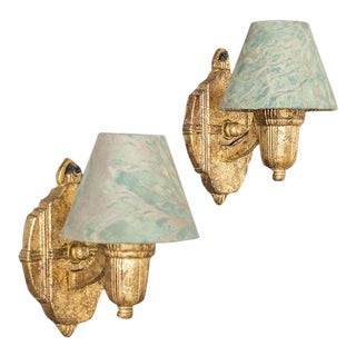 Pair French Art Deco Sconces circa 1930, Fortuny Fabric Shades