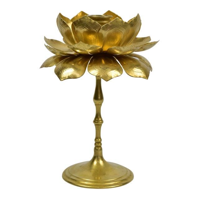 Image of Vintage Feldman Brass Lotus Blossom Candlestick